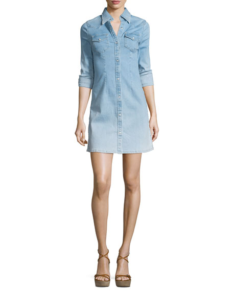 AG Jacqueline Button-Front Chambray Shirtdress, Crane