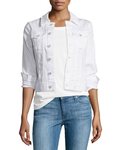 Robyn Button-Front Denim Jacket  True White