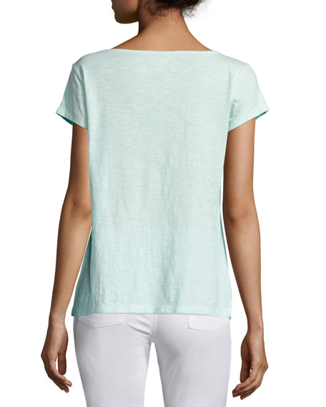 Cap-Sleeve Organic Cotton Slub Top, Plus Size