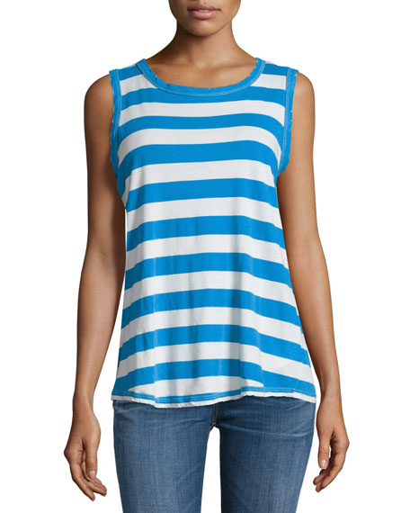 Current/Elliott The Cross-Back Round-Neck Muscle Tee, Boating
