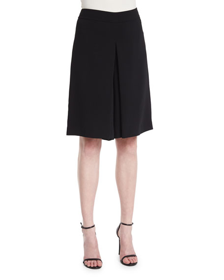 Magaschoni Mid-Rise Flat-Front Culottes, Black