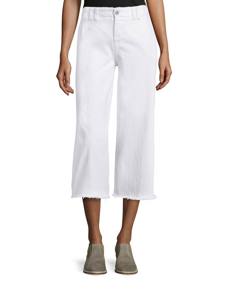 Current/Elliott The Cropped Hampden Trousers, Sugar W/Raw Hem