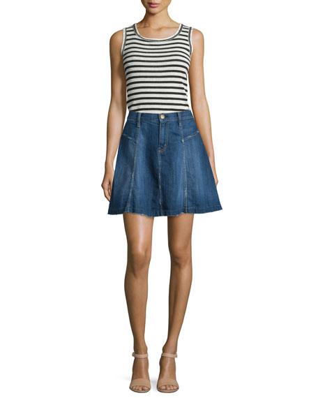 The Skater Denim Skirt, Ravine
