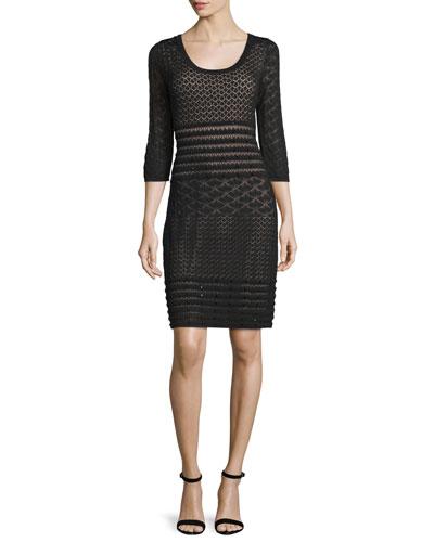 3/4-Sleeve Lace Sheath Dress, Black