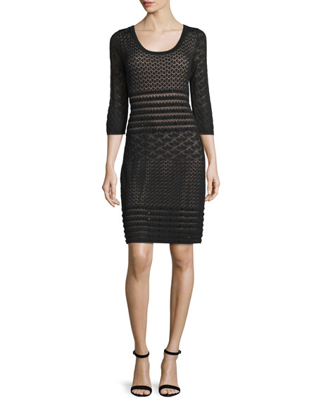 Carmen by Carmen Marc Valvo 3/4-Sleeve Lace Sheath Dress, Black