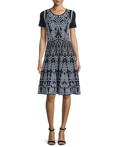 Moroccan Short-Sleeve Fit-&-Flare Dress, Black/White