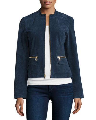 Suede Zip-Front Jacket, Midnight Blue