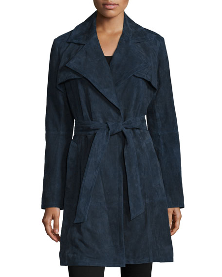 Neiman Marcus Long-Sleeve Belted Suede Trenchcoat, Navy