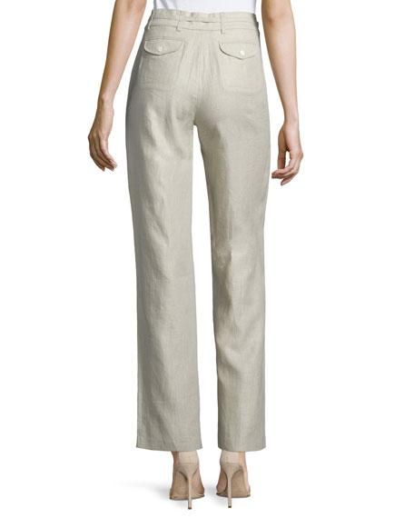 Straight-Leg Drawstring-Waist Linen Pants, Natural, Women's