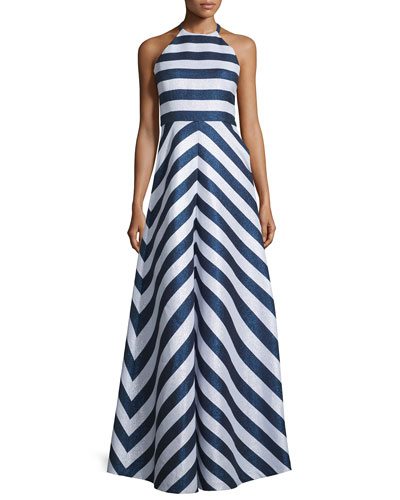 Halter-Neck Striped Two-Tone Gown, Navy/Optice