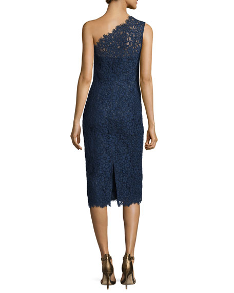 One-Shoulder Lace Midi Cocktail Dress, Navy