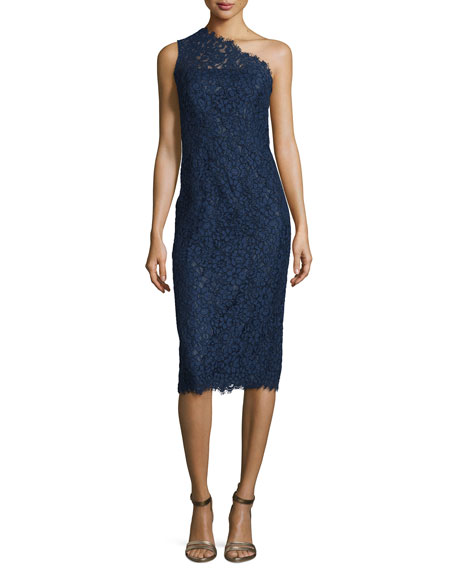 Shoshanna One-Shoulder Lace Midi Cocktail Dress, Navy