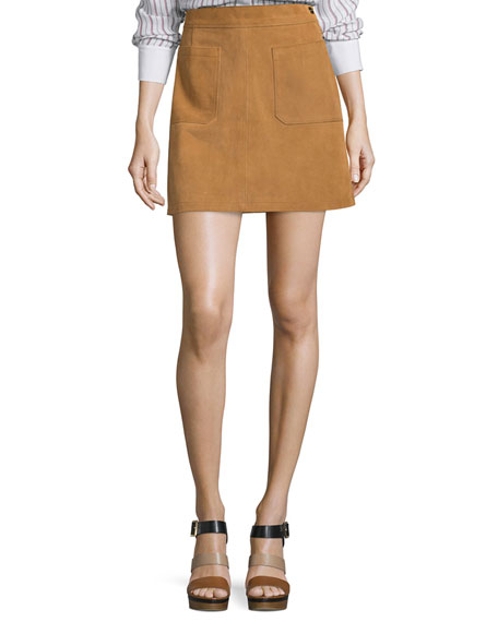 FRAME Le High A-Line Skirt, Tobacco