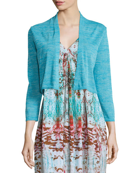 Neiman Marcus 3/4-Sleeve Cropped Cocoon Cardigan, Turquoise