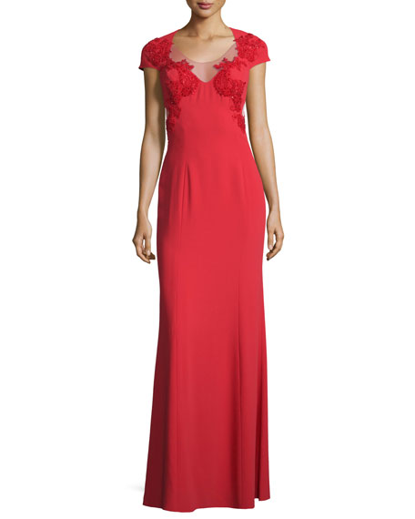 Marchesa Notte Cap-Sleeve Illusion-Side Applique Gown