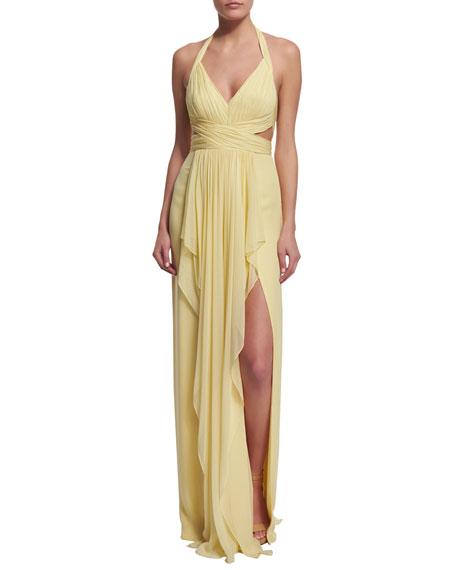 Sleeveless V-Neck Draped Halter Gown