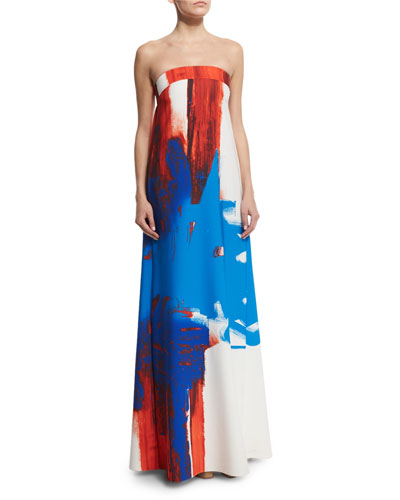 Strapless Printed Trapeze Gown