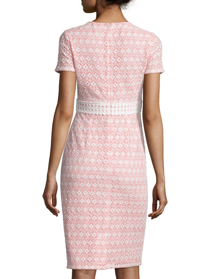 Round-Neck Macrame Eyelet Sheath Dress, Coral/Off White