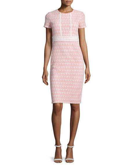 Shoshanna Round-Neck Macrame Eyelet Sheath Dress, Coral/Off White