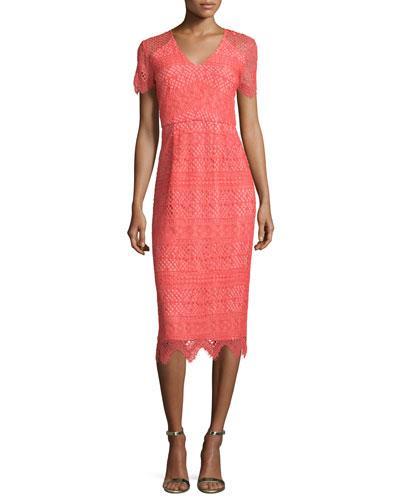 Short-Sleeve V-Neck Lace Dress, Coral