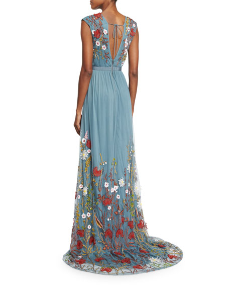 Alice   Olivia Merrill Floral-Embroidered Sleeveless Maxi Dress