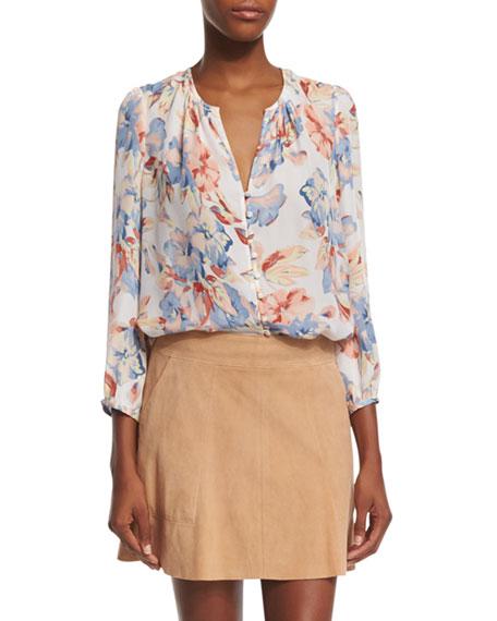 Joie Lennix Floral-Print Silk Top