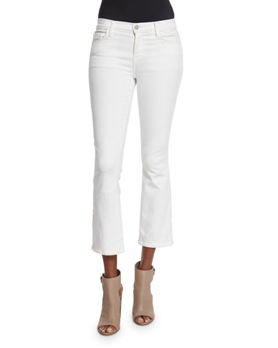 Selena Mid-Rise Cropped Boot-Cut Jeans, Blanc