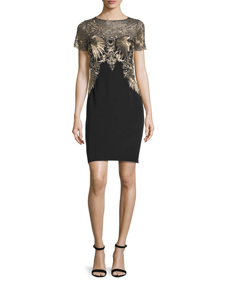 Marchesa Notte Short-Sleeve Embroidered Cocktail Dress