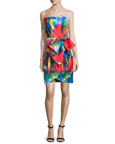 Milly Strapless Printed Cocktail Dress W/Bow, Cobalt