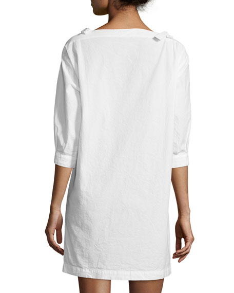 Patou Cold-Shoulder Shift Dress, Ecru