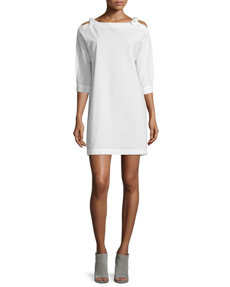 MiH Patou Cold-Shoulder Shift Dress, Ecru