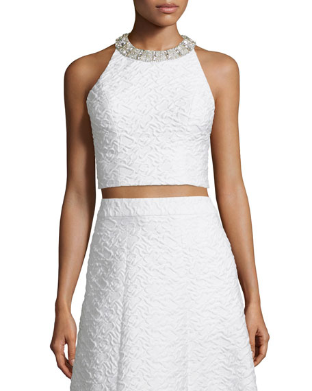Alice + Olivia Tru Sleeveless Embellished Crop Top,