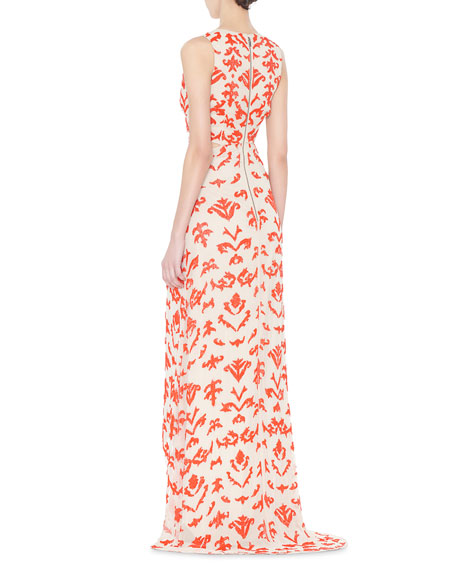 Alice + Olivia Juela Cutout High-Low Gown, Nude/Poppy