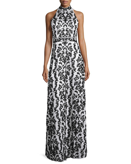 Alice + OliviaMakeena Embellished Lace Gown, Black/White