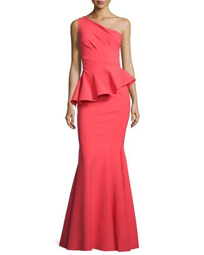 Desy One-Shoulder Peplum Gown