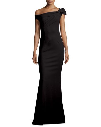 Graziella Long Asymmetric Mermaid Gown, Nero