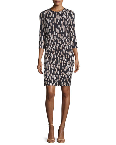 3/4-Sleeve Geometric-Print Sheath Dress, Black/Multi