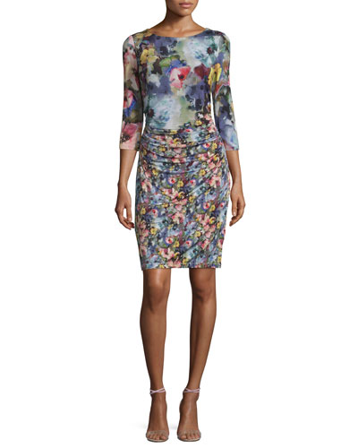 3/4-Sleeve Floral-Print Mesh Sheath Dress