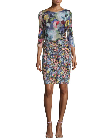Kay Unger New York 3/4-Sleeve Floral-Print Mesh Sheath