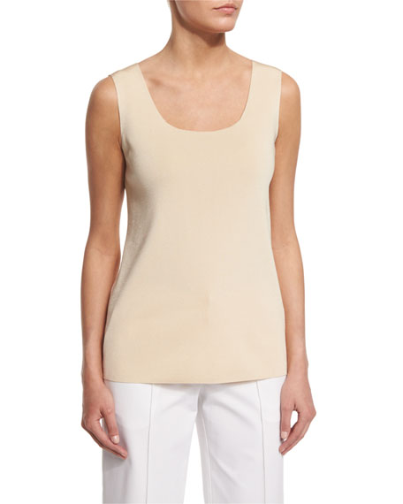 Lafayette 148 New York Scoop-Neck Long Tank, Candlelight