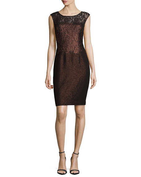 Kay Unger New York Cap-Sleeve Lace Combo Cocktail