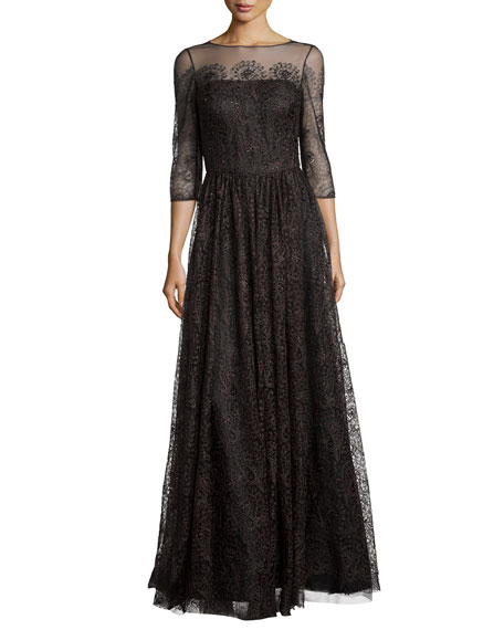 Kay Unger New York 3/4-Sleeve Lace Tulle Gown