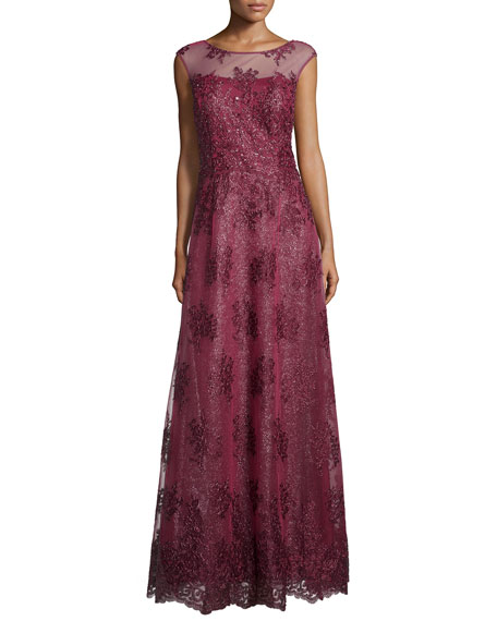 Kay Unger New York Cap-Sleeve Sequined Gown, Wine