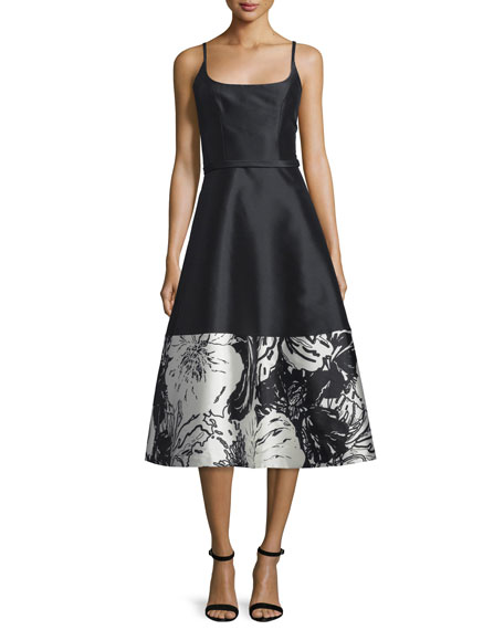 TheiaSleeveless A-line Floral-Hem Cocktail Dress