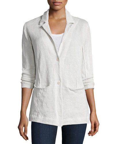 Organic Cotton-Blend Two-Button Jacket