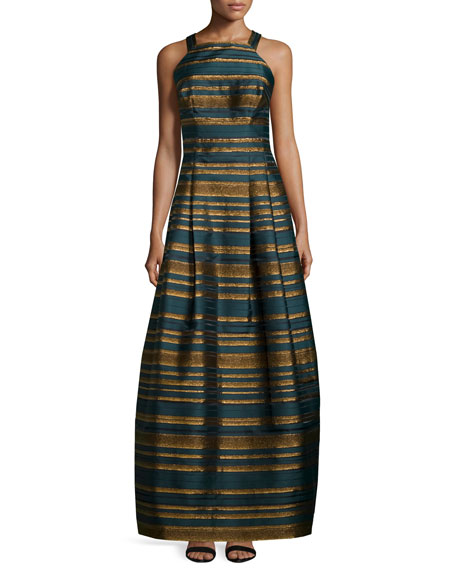 Sleeveless Metallic-Striped Gown, Teal