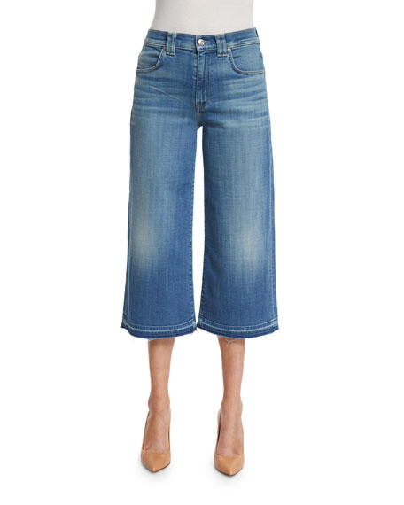 7 For All Mankind High-Waist Denim Culottes W/Released