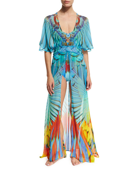 Camilla V-Neck Printed Silk Long Coverup Dress, Flightful