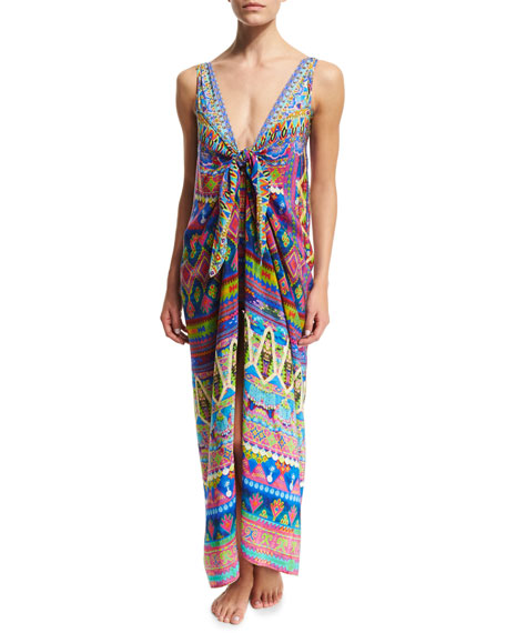 Camilla Tie-Front Printed Coverup Dress W/ Straps