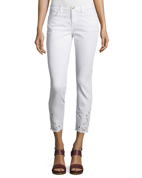 Current/Elliott Stiletto Embroidered Cropped Jeans, Sugar